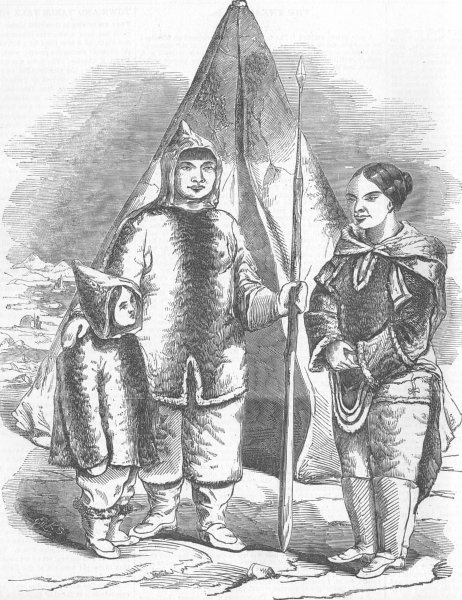 Associate Product TRIBAL. An Eskimo Family in London, antique print, 1854