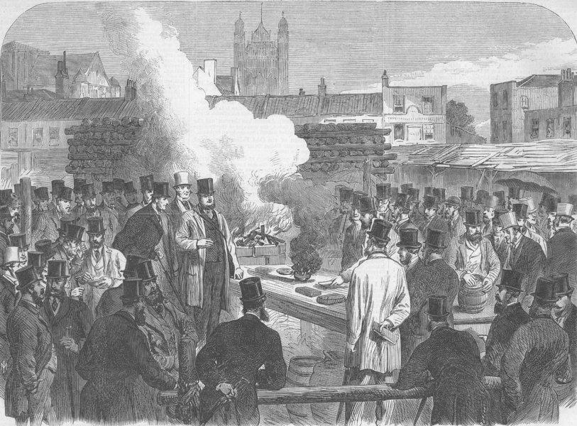 Associate Product LONDON. Wind. Test to make gunpowder inert, antique print, 1865
