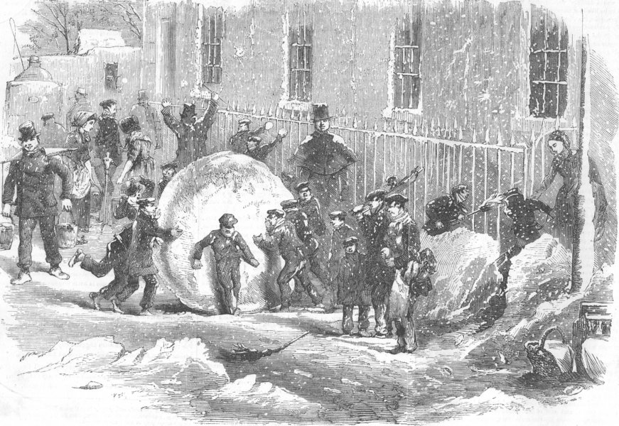 CHILDREN. Gathering as it goes, or monster snowball, antique print, 1855