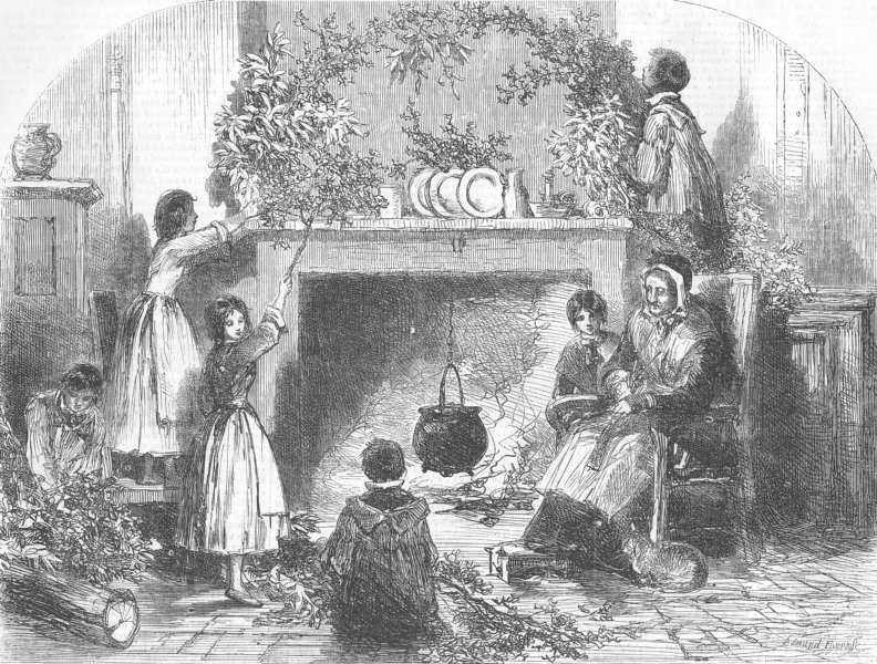 Associate Product FAMILIES. Christmas-eve-Putting up holly, mistletoe, antique print, 1855
