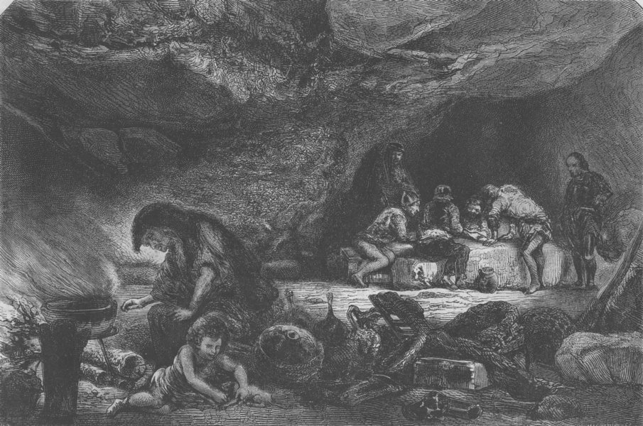 Associate Product TRIBES. Cavern. La Caverne, par Celestin Nanteuil, antique print, 1855