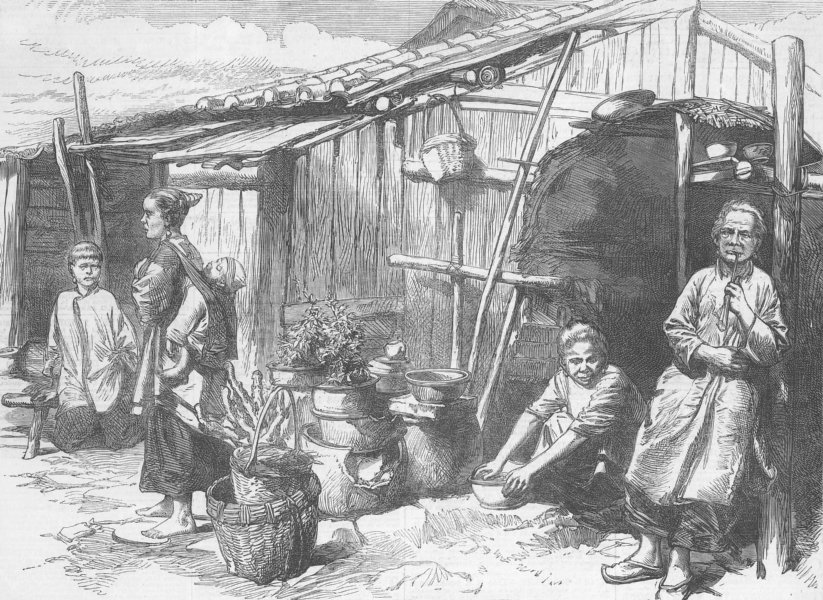 Associate Product FAMILY. A Chinese peasant family, antique print, 1872