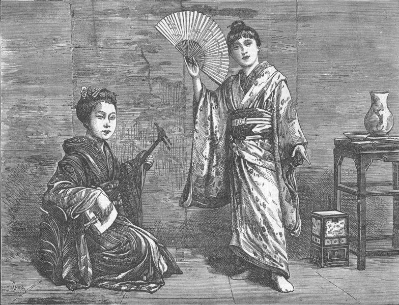 Associate Product JAPAN. Japanese dancing-girl practising, antique print, 1874