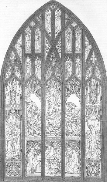 Associate Product STAMFORD. Memorial window, built, St John's church, antique print, 1857