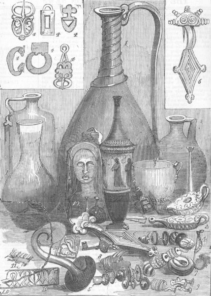 Associate Product LONDON. Crimean antiquities British Museum, antique print, 1857