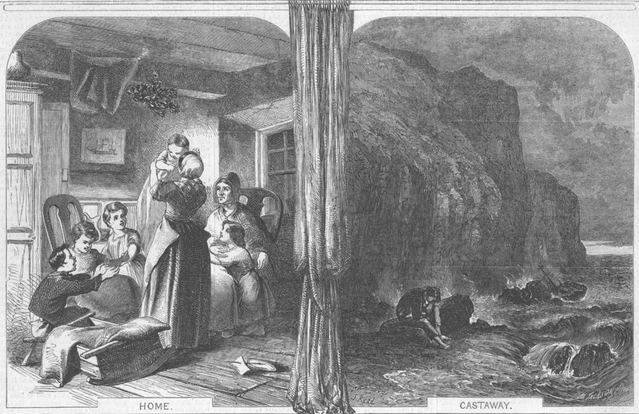 Associate Product FAMILIES. Home and Castaway, antique print, 1856
