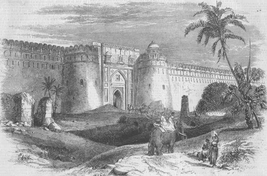 Associate Product INDIA. West entry to Shere Shah's Ft, Delhi, antique print, 1857