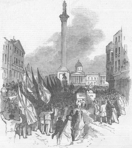 Associate Product LONDON. Parade, Charing Cross, antique print, 1848