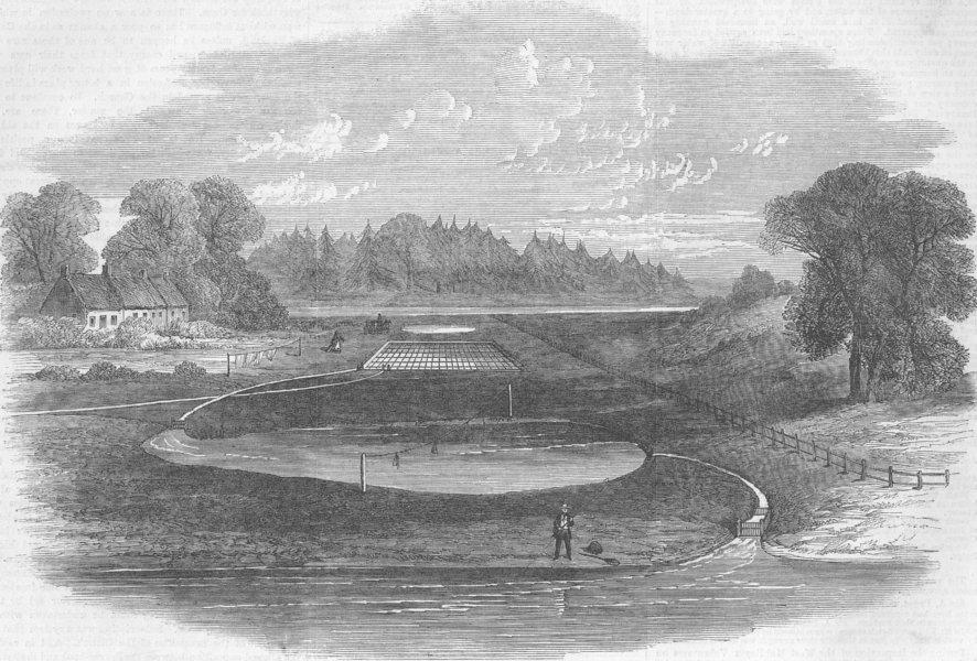 Associate Product SCOTLAND. Salmon-breeding ponds, Stormontfield, antique print, 1863