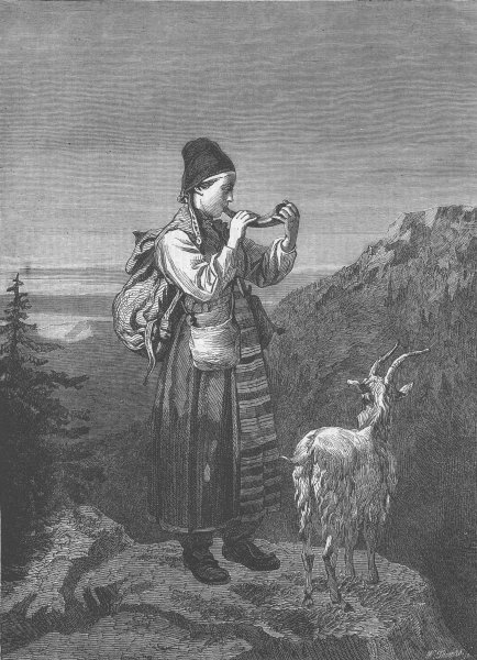 Associate Product SWEDEN. Girl tending cattle, Dalarna , antique print, 1863