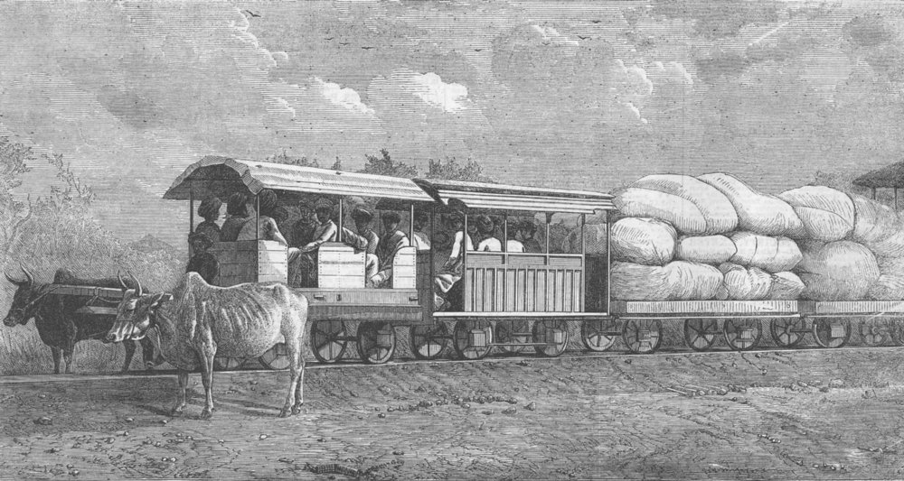 Associate Product INDIA. Indian Tramway, antique print, 1863