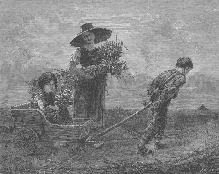 Associate Product CHILDREN. Cleaners returning home, antique print, 1865