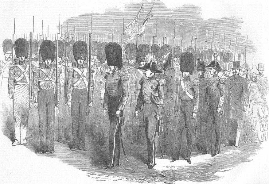 Associate Product WELLINGTON BARRACKS. 1st Fusilier, 3rd Grenadiers, antique print, 1854