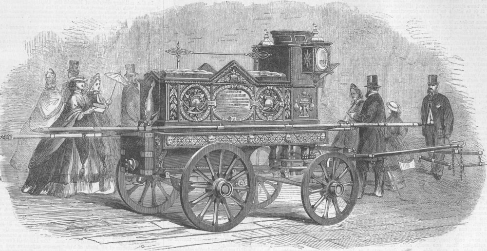 Associate Product LAMBETH. Fire-engine given to Hodges by residents, antique print, 1862
