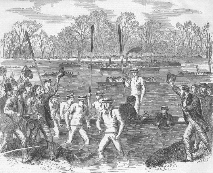Associate Product OXBRIDGE. boat-race. winning crew coming Ashore, antique print, 1863