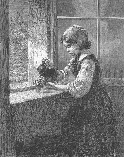 Associate Product CHILDREN. The cottage window, antique print, 1863