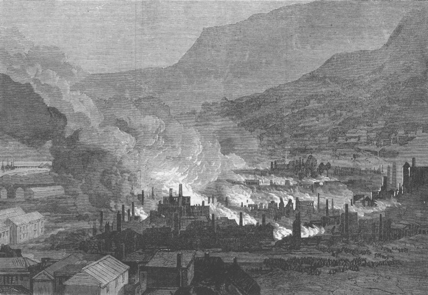 Associate Product KENT. Gt fire, Port Lyttelton, Canterbury, New Zealand, antique print, 1871