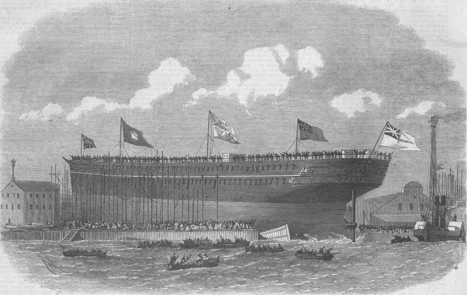 Associate Product LONDON. Launch. Serapis, Indian troopship, Blackwall, antique print, 1866