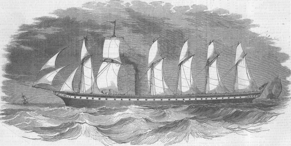 Associate Product GLOS. Gt Britain steam ship, Bristol, antique print, 1843