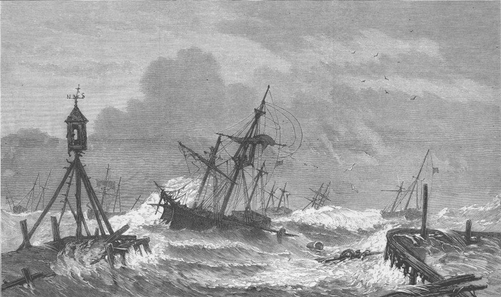Associate Product DENMARK. Storms, Baltic. Zealand, Kjöge, antique print, 1872