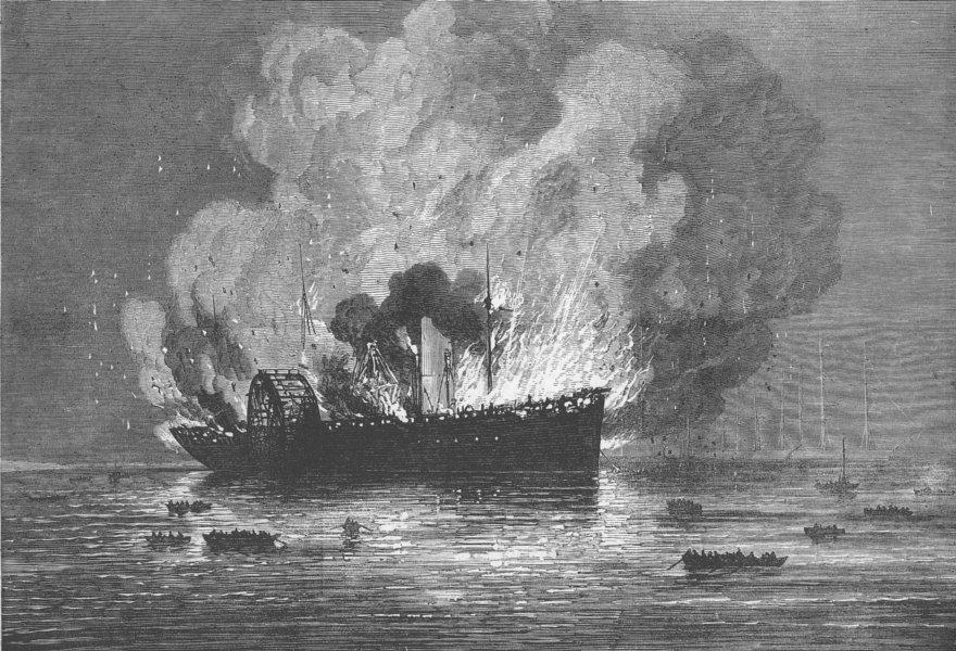 Associate Product YOKOHAMA. Burning of Pacific Mail Co's ship America, antique print, 1872