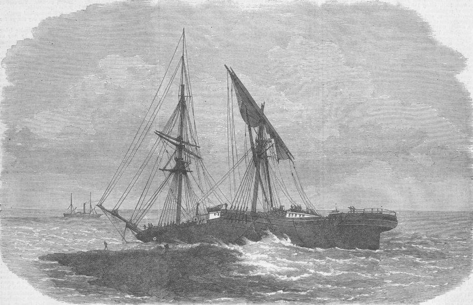 Associate Product AUSTRALIA. Wreck of young, Moreton Island, Queensland, antique print, 1872