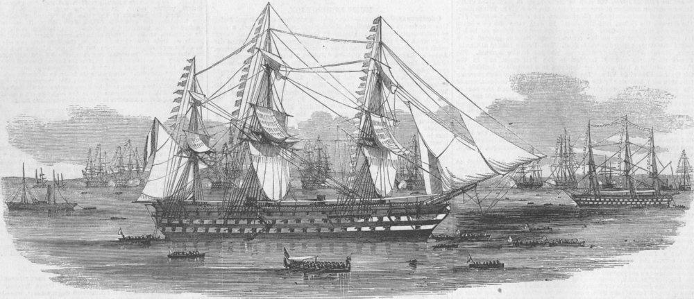 Associate Product FRANCE. Landing of President, Toulon, antique print, 1852