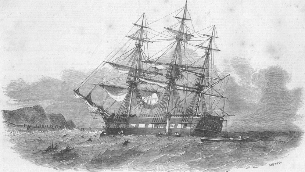 Associate Product INDIA. Ship Centaur, of Kolkata, lost, Arabia, antique print, 1852