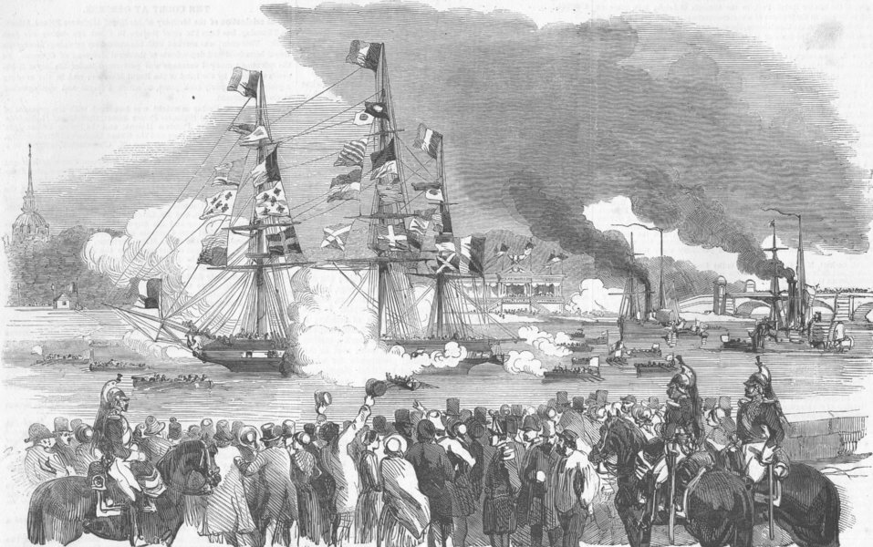 Associate Product FRANCE. Naval Combat, Seine, Paris, antique print, 1852