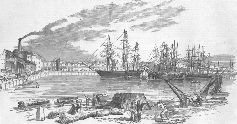 Associate Product LONDON. John Bowes, Collier, East & West india docks, antique print, 1852