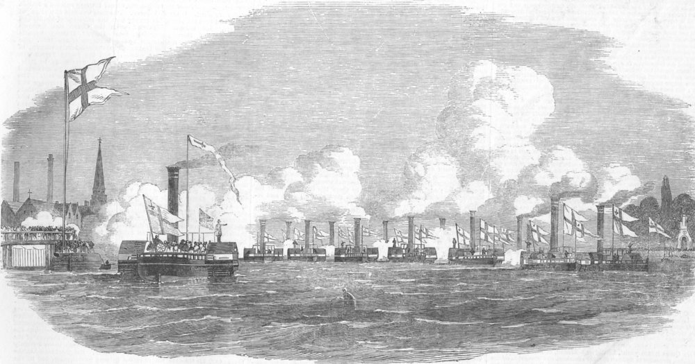 Associate Product LONDON. City Steamboat Co's ships, antique print, 1852