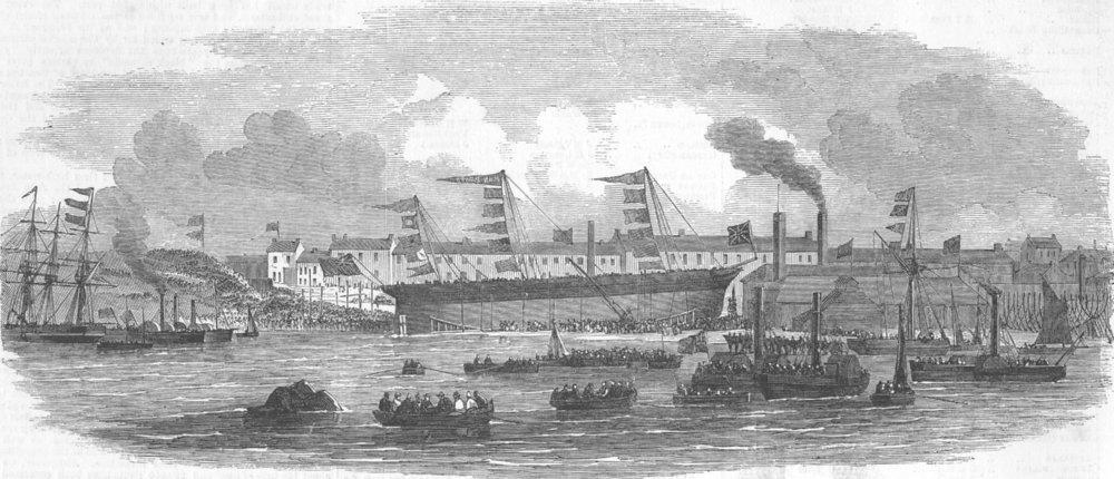 NORTHUMBS. Launch. collier John Bowes, Jarrow, antique print, 1852