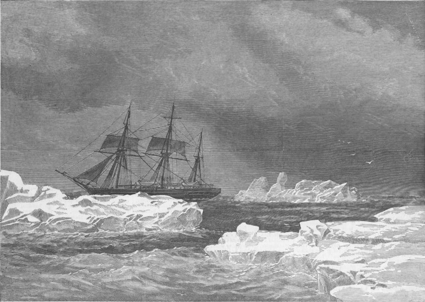 Associate Product ARCTIC. Cruising, pack. Entry to Smith Sound, antique print, 1876