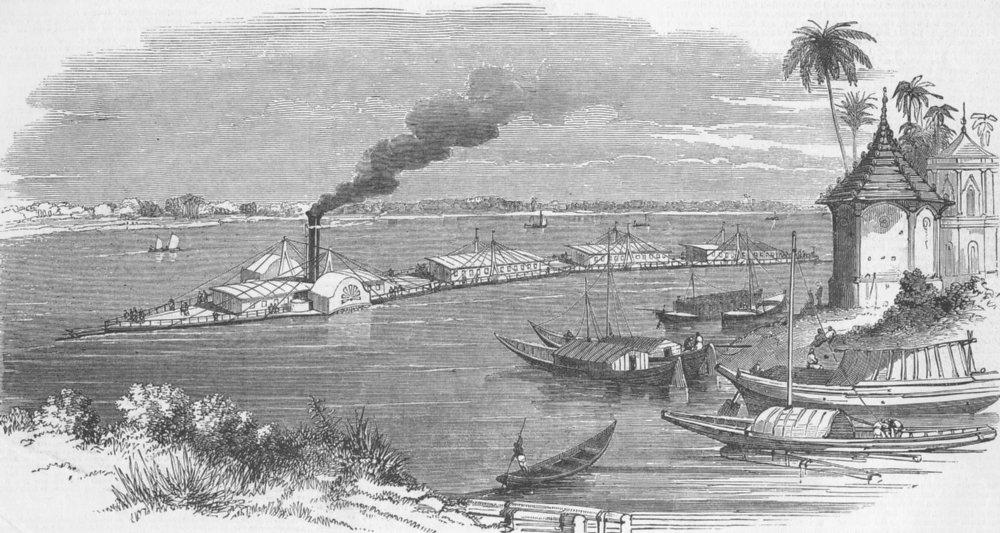 Associate Product INDIA. Bourne's river steam train, antique print, 1849