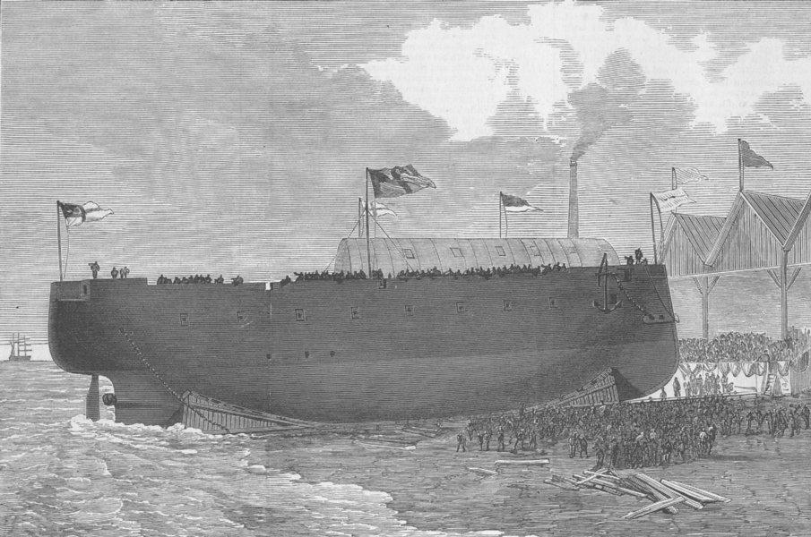 Associate Product POLAND. Launch. German corvette Sedan, Szczecin, antique print, 1876