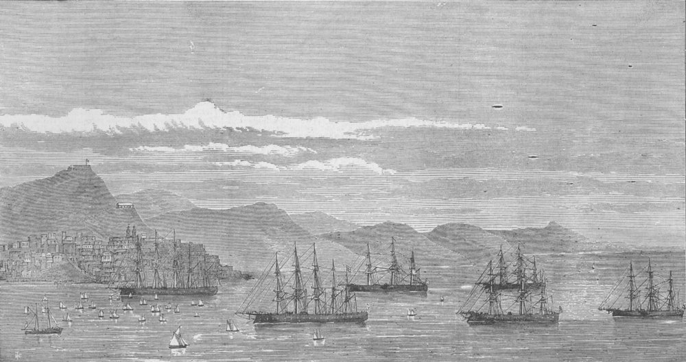 Associate Product VIGO. 1st Spanish Republic. channel fleet Regatta, antique print, 1874
