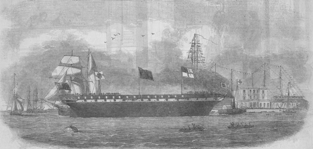 Associate Product LONDON. Launch. Agamemnon, Blackwall, antique print, 1854