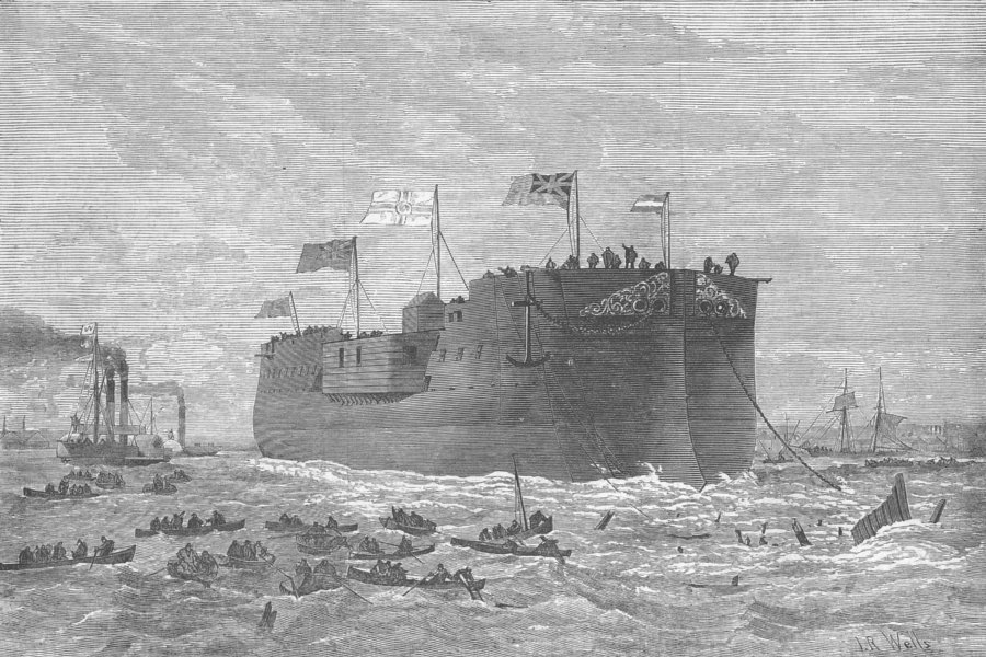 Associate Product LONDON. Launch. German ship Kaiser, Poplar, antique print, 1874