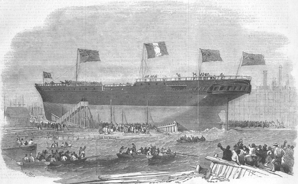 Associate Product BLACKWALL. Launch. Vittorio Emanuele iron ship, antique print, 1854