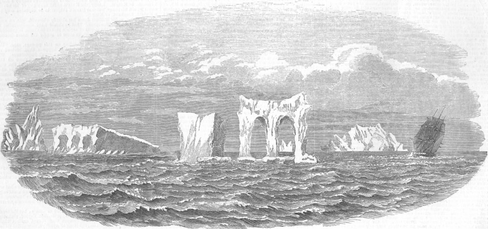 Associate Product AUSTRALIA. Medway, Icebergs, way home from Melbourne, antique print, 1854