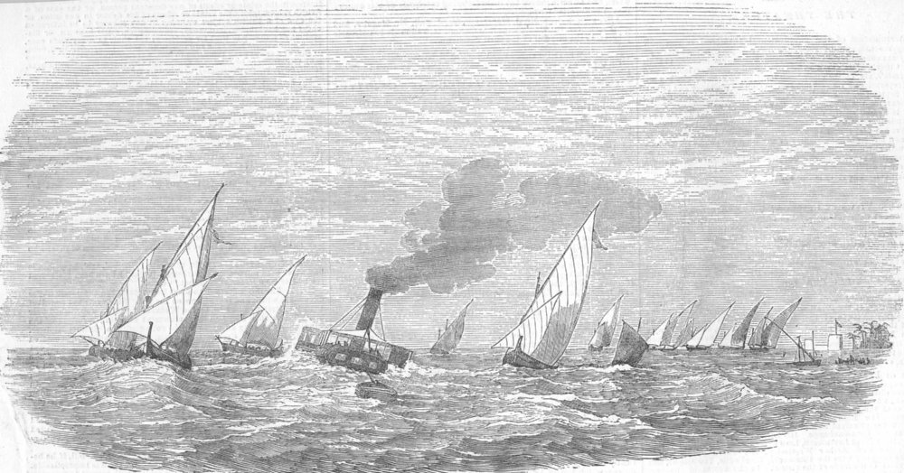 Associate Product EGYPT. Ships, bar, Rosetta Nile, antique print, 1854