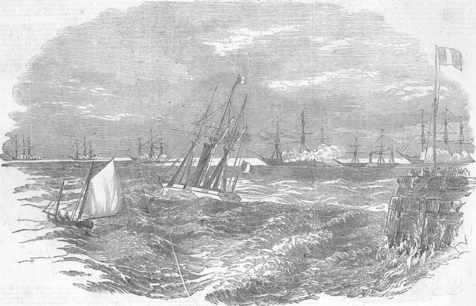 Associate Product CALAIS. Emperor, Harbour, to visit English fleet, antique print, 1874