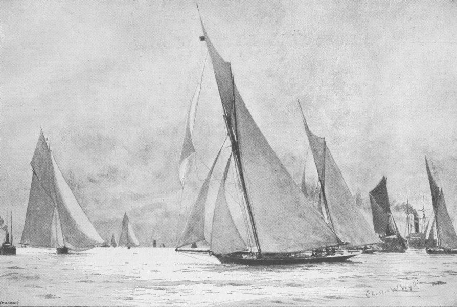 Associate Product LONDON. Royal Thames Yacht Club race, antique print, 1892