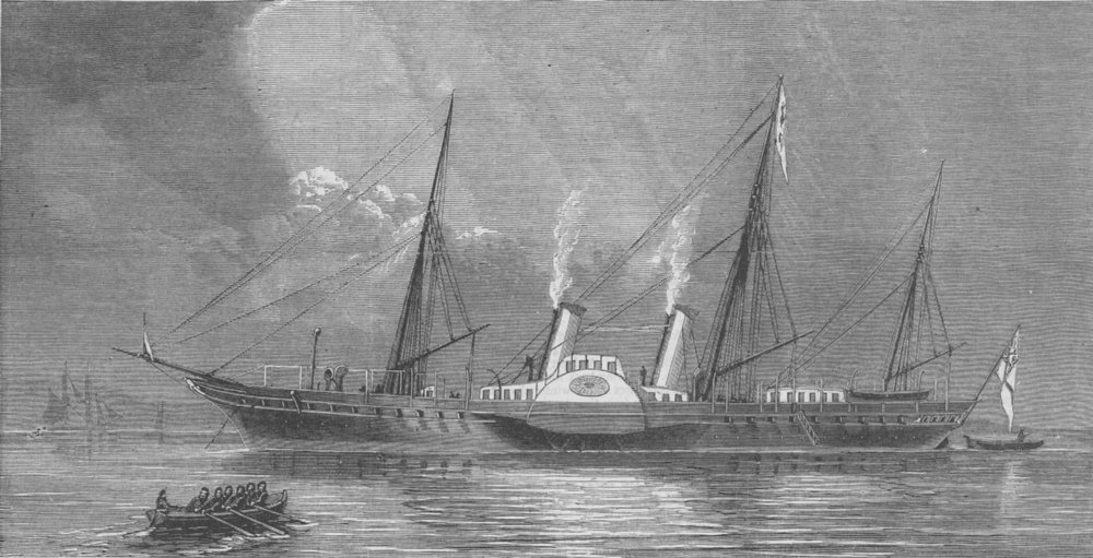 Associate Product SHIPS. Prince of Waless new Yacht Osborne, antique print, 1874