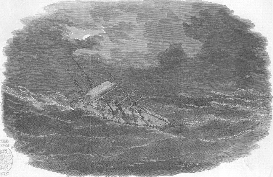 Associate Product INDIAN OCEAN. Ship Argo, cyclone, Kerguelen Island, antique print, 1853