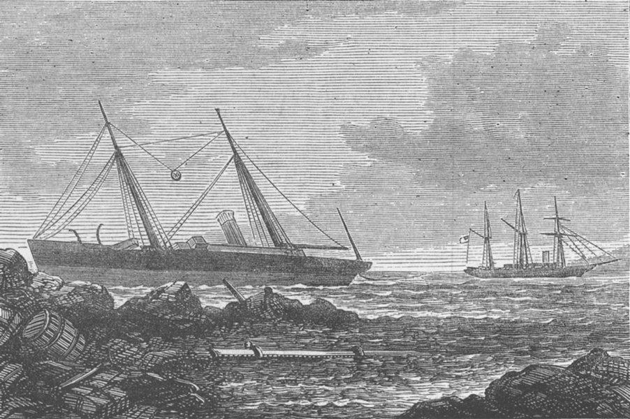 Associate Product GREECE. Wreck of Assyrian, Island Elaphonisi, antique print, 1878