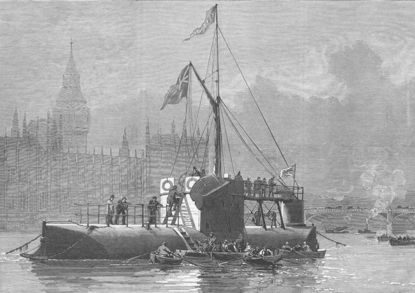 LONDON. Ship carring Cleopatra's needle, antique print, 1878