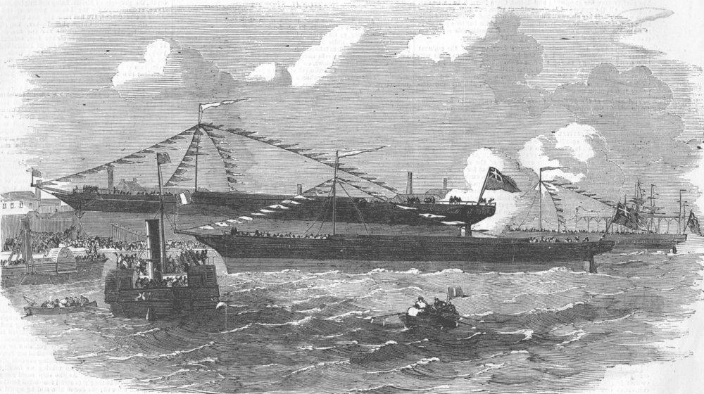 Associate Product NORTHUMBS. Launch. iron-ships, Jarrow, antique print, 1855