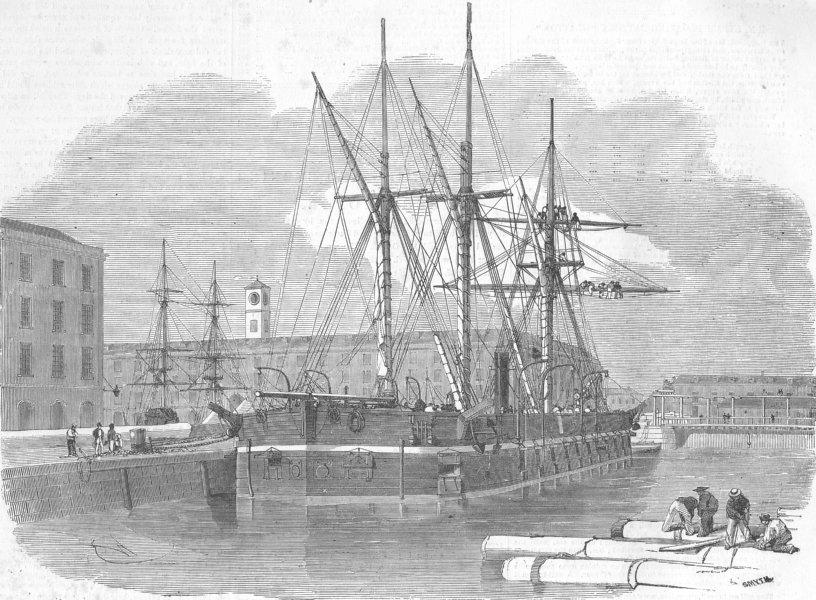 Associate Product SHIPS. H M floating battery Glatton, antique print, 1855