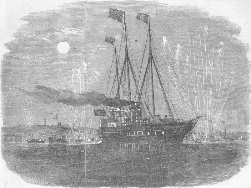 Associate Product FRANCE. Royal Yacht, Boulogne Harbour, antique print, 1855